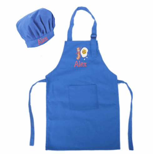 Personalized Child's Size Purple Apron & Chef's Hat Eggs & Bacon Design