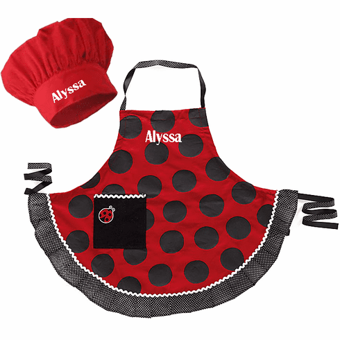 Personalized Child's Size Red and Black Dot Ladybug Apron & Hat Set