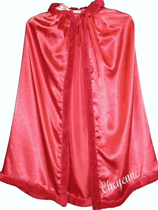 Personalized Child's Size Red Satin Fur Trimmed Cape