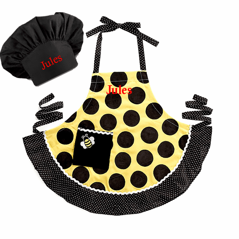 Personalized Child's Size Yellow and Black Dot Bee Apron & Hat Set