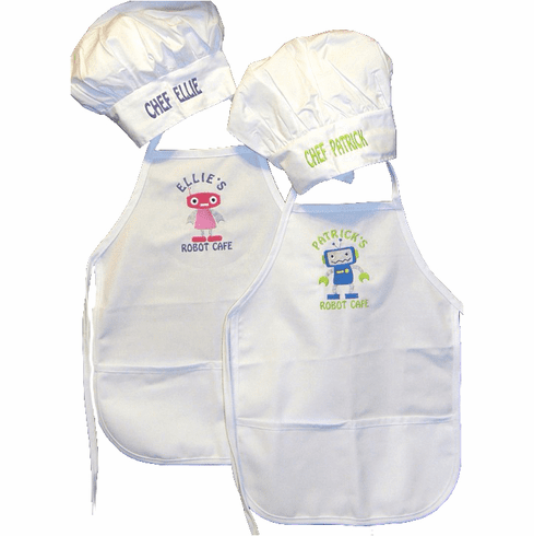Personalized Child's White Apron and Chef's Hat Set Robot Design