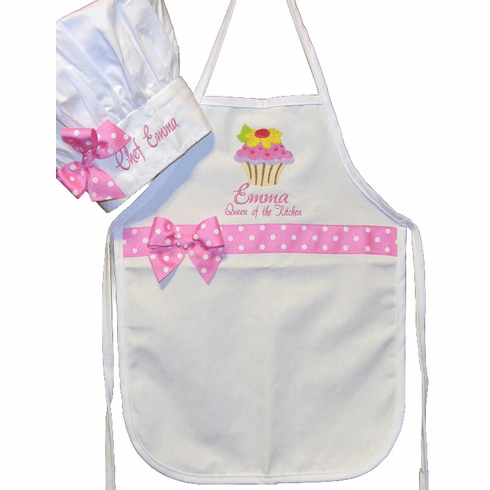 PERSONALIZED Child Size White Chef's Apron & Hat Pink Dot Design