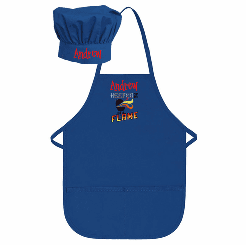 """PERSONALIZED Children's Size Royal Blue Chef's Apron & Hat """"Keeper of the Flame"""" Design"""