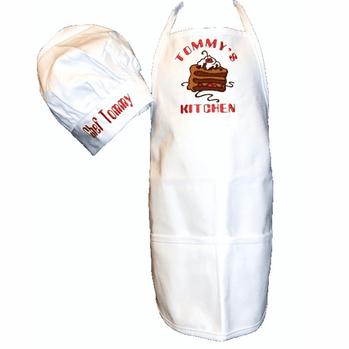 "PERSONALIZED Children's Size White Chef's Apron & Hat ""Chocolate Cake"" Design"
