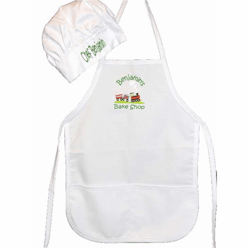 "PERSONALIZED Children's Size White Chef's Apron & Hat ""Choo Choo Train"" Design"