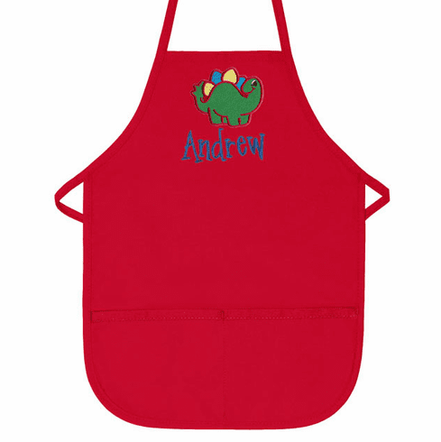 Personalized Childs 2 Pocket Apron - Red  Dinosaur Design