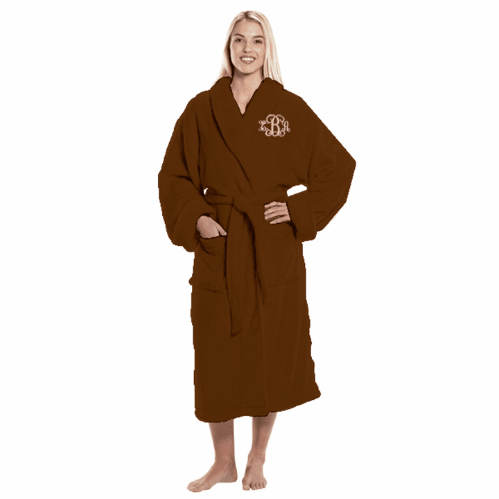 Personalized Chocolate Tahoe Micro Fleece Shawl Collar Robe 48""