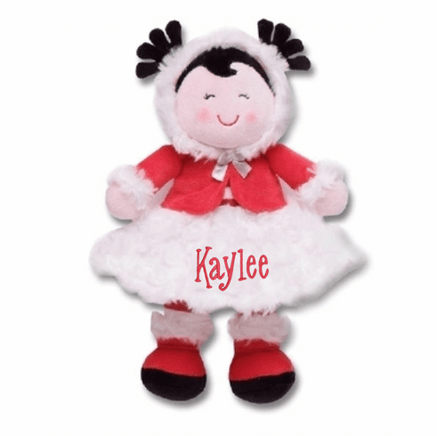 """PERSONALIZED Christine Soft Red & White Baby Doll 11"""" Tall"""