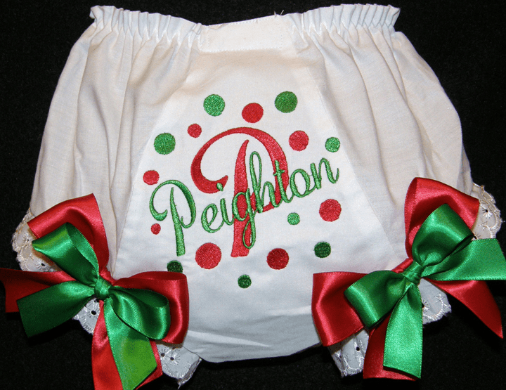 Personalized Christmas Bloomers, Diaper Covers