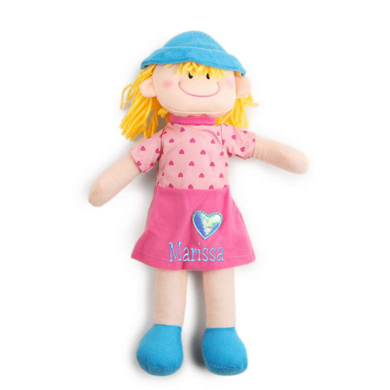 "Personalized Cloth Baby Doll Happy Heart 11"" Yellow Hair"