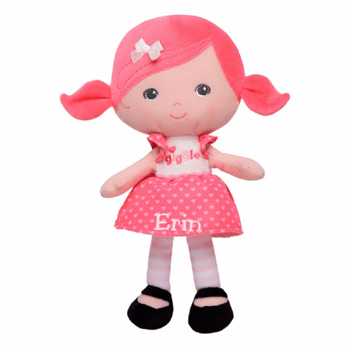 PERSONALIZED Cloth Baby Doll Soft Pink Hair and a Giggle