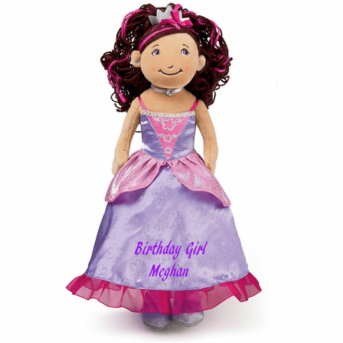 Personalized Cloth Birthday Princess Rag Doll Brown Hair Lavender Gown