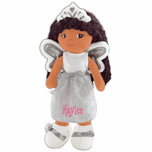 Personalized Cloth Doll Beautiful Dark Skin Brown Hair Fairy Princess