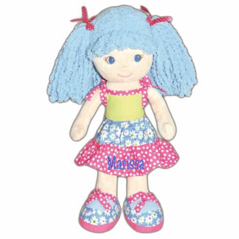 Personalized Cloth Doll Fun Flower Patchwork Dress 14""