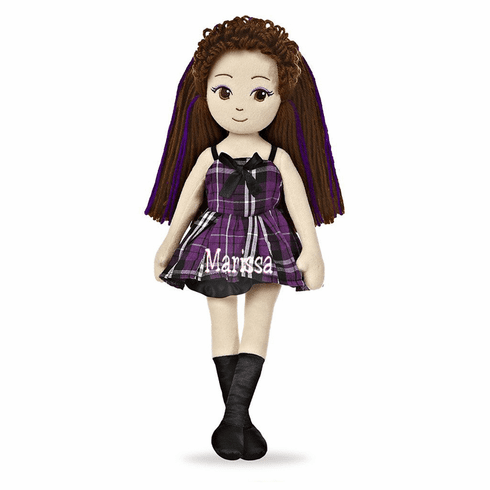 Personalized Cloth Doll Sweet Lollies Brown Hair Purple Plaid Dress 13""