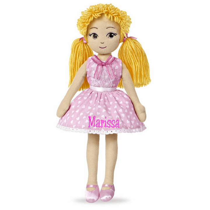 Personalized Cloth Doll Sweet Lollies Yellow Hair Pink Dot Dress 13""