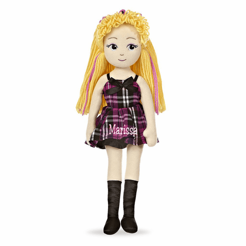 Personalized Cloth Doll Sweet Lollies Yellow Hair Pink Plaid Dress 13""