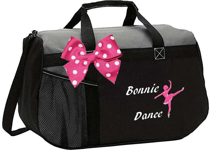 Personalized Color Block Duffel Bag w/Bow Ballerina Design 6 Color Choices