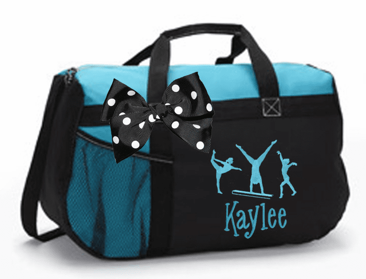 Personalized Color Block Duffel Bag w/Bow Gymnastics Design Assorted Colors