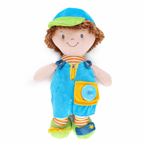 PERSONALIZED Connor Blue Button, Dress and Learn Soft Plush Doll