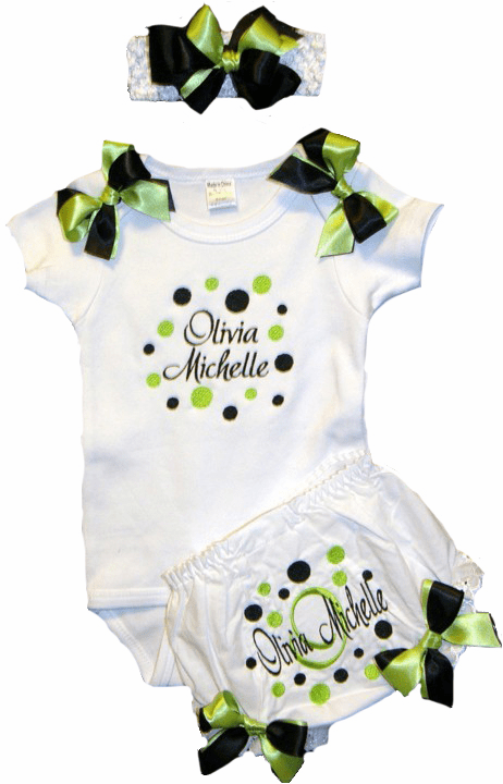Personalized Custom Baby Girl Onezee, Diaper Cover &  Headband Black & Lime Dots