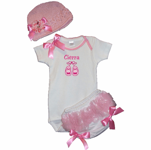 Personalized Custom Ballet Slippers Baby Girl Onezee, Diaper Cover & Hat Set