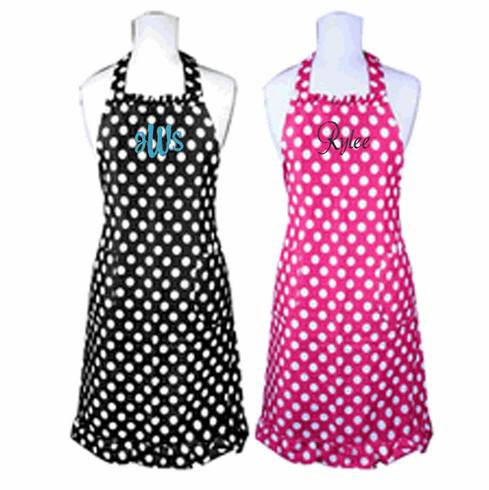 Personalized Custom Embroidered Ladies' Apron Black & White Polka Dots
