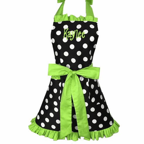 Personalized Custom Embroidered Ladies' Apron Polka-Dot Lime Trim