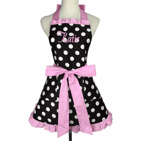 Personalized Custom Embroidered Ladies' Apron Polka-Dot Pink Trim