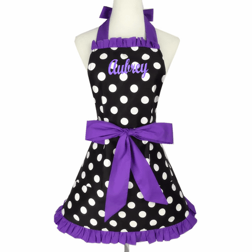 Personalized Custom Embroidered Ladies' Apron Polka-Dot Purple Trim