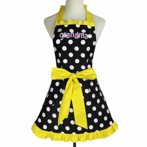 Personalized Custom Embroidered Ladies' Apron Polka-Dot Yellow Trim