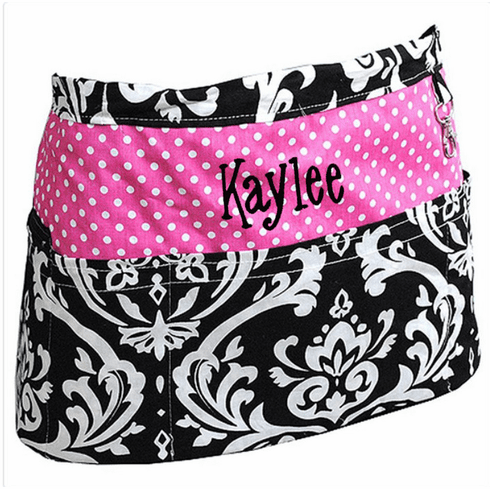 Personalized Custom Embroidered Ladies' Half Apron Damask & Pink w/3 Front pockets