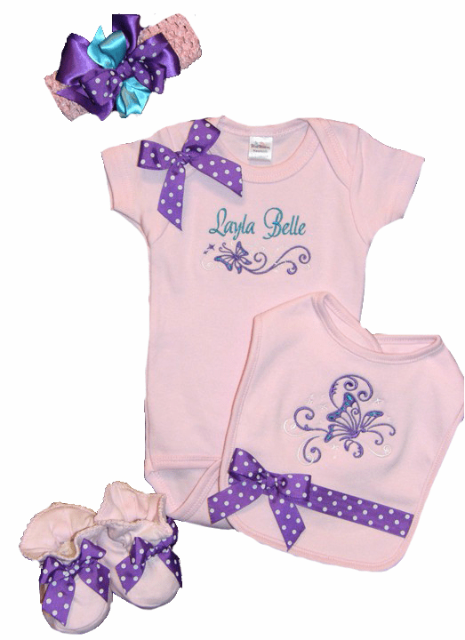 Personalized Custom Light Pink Baby Girl Onezee, Bib, Booties and Headband Butterflies Design