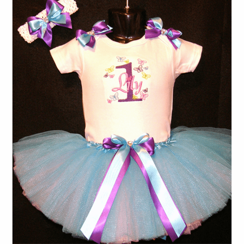 Personalized Custom Made 1st Birthday Butterflies Tutu Set Outfit