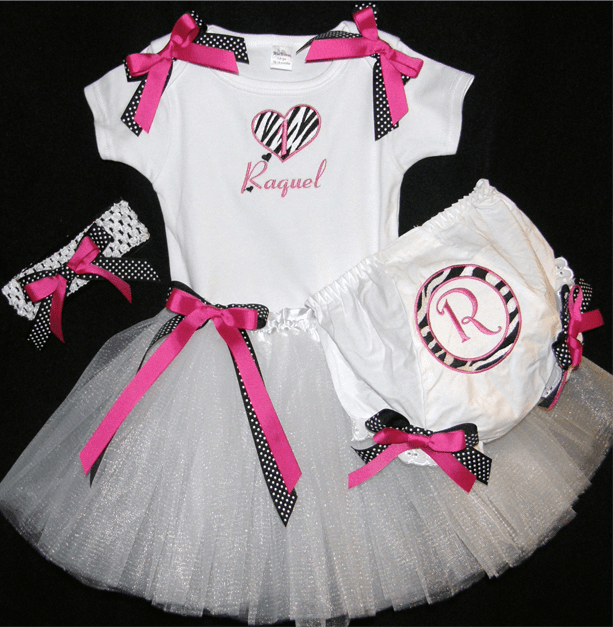 Personalized Custom Made 1st Birthday Tutu Bloomer Set White, Pink & Black