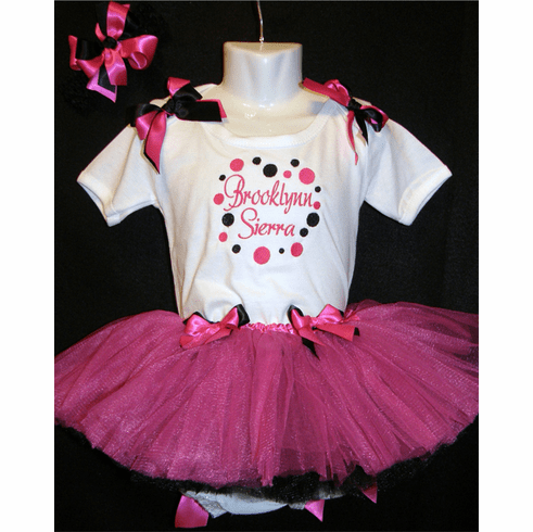 Personalized Custom Made 1st Birthday Tutu Outfit Hot Pink & Black