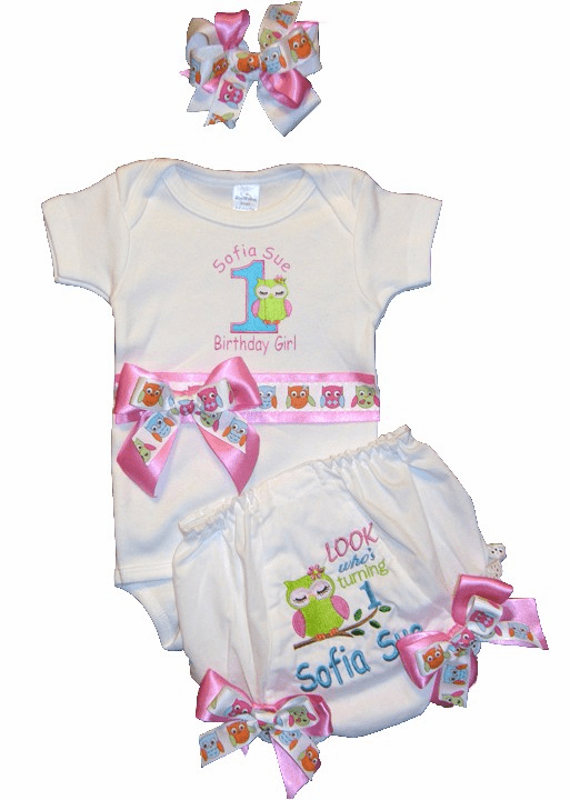 "Personalized Custom Made Birthday Outfit ""Look Who's One"" Onezie, Diaper Cover & Headband"