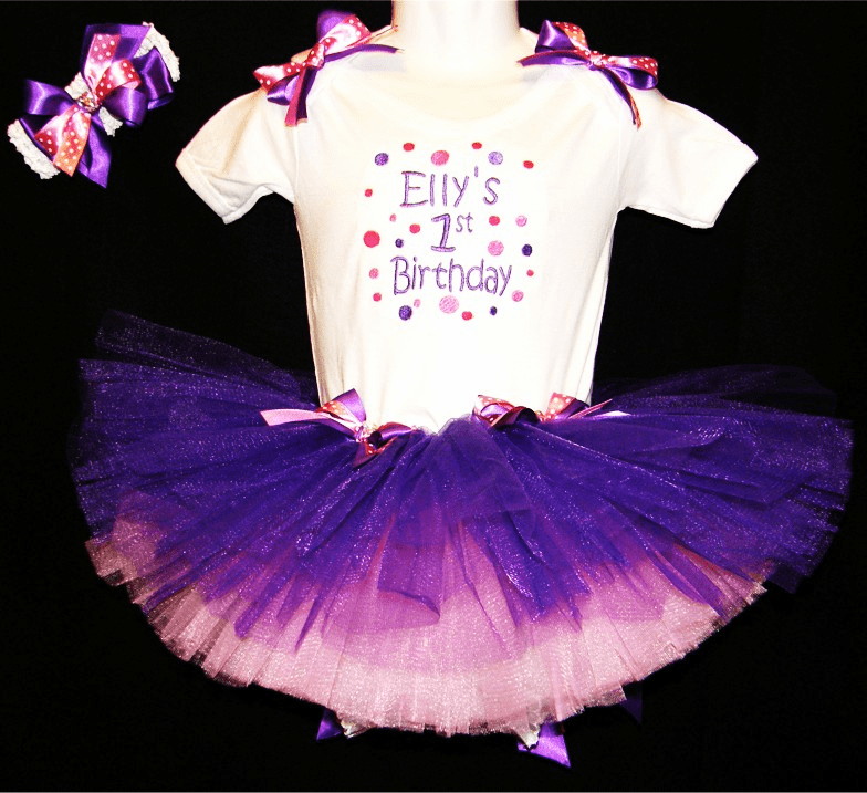 Personalized Custom Made Birthday Outfit Purple, Pink and Dots
