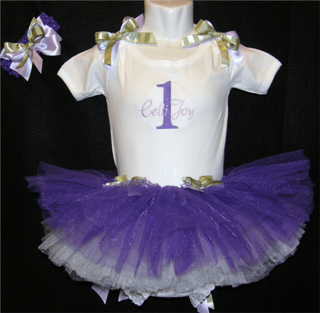 Personalized Custom Made Birthday Tutu Bloomer Set Purple, Sage & White