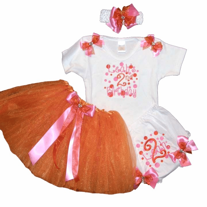 Personalized Custom Made Birthday Tutu Outfit Set Orange and Hot Pink