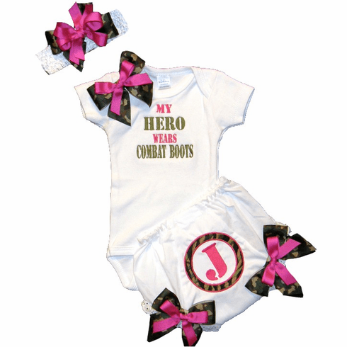 "Personalized Custom Made Camouflage ""MY HERO"" Onezie Set"