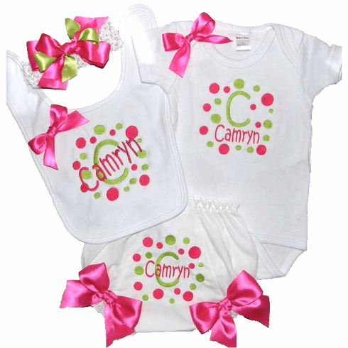 Personalized Custom Made Hot Pink & Lime Dots Onezie Set