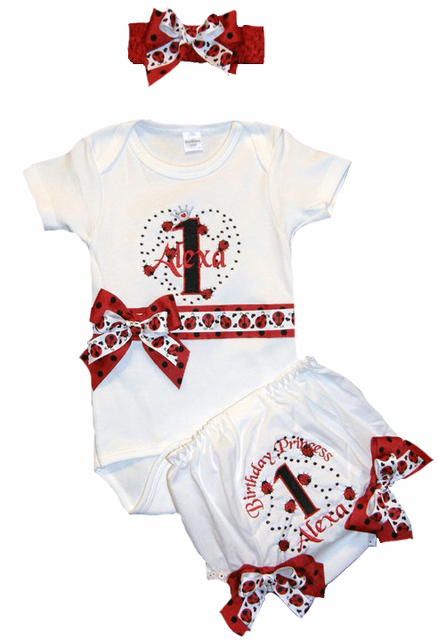 Personalized Custom Made Ladybug Birthday Outfit Set