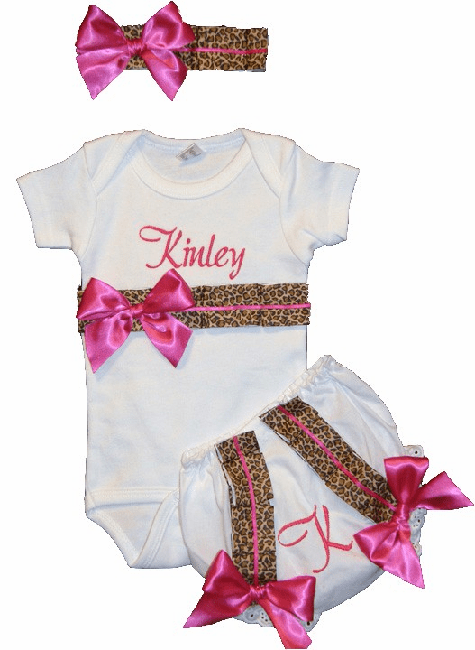 Personalized Custom Made Leopard Print Onezie Outfit Set