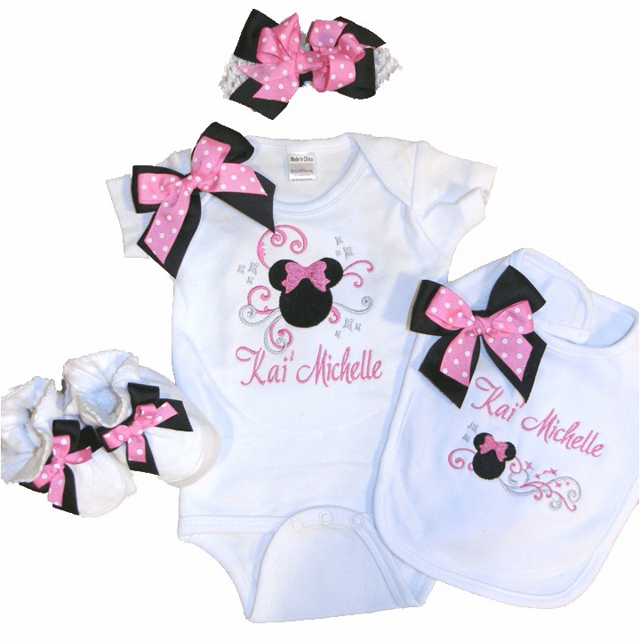 Personalized Custom Made Mouse Head Black & Pink Dot Onezie Set