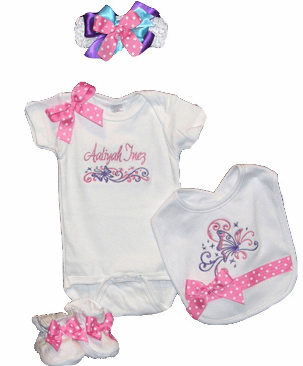 Personalized Custom Made Pink Dots Butterfly Design Onezie Set
