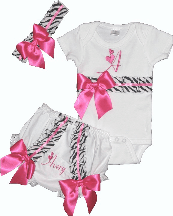 Personalized Custom Made Zebra & Hot Pink Onezie Outfit