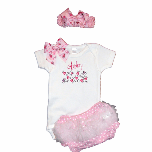 Personalized Custom Pink Ladybugs Baby Girl Onezee, Diaper Cover and Headband Set