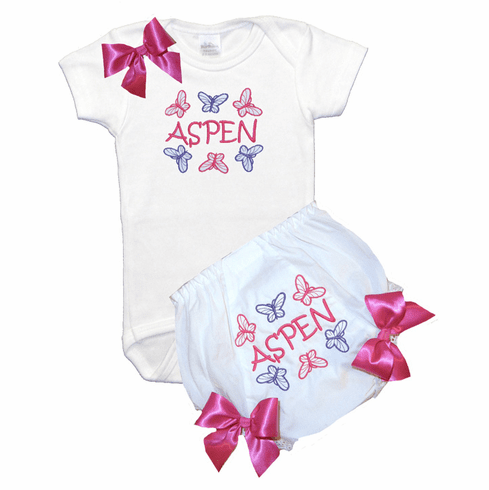 Personalized Custom Purple & Hot Pink Butterflies Baby Girl Onezee & Diaper Cover