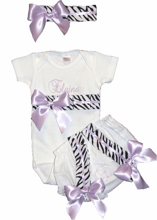 Personalized Custom Zebra  with Lavender Baby Girl Onezee, Diaper Cover and Headband Set